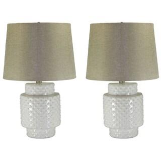 Kara White Ceramic Linen Shade 2-piece Hobnail Lamp Set