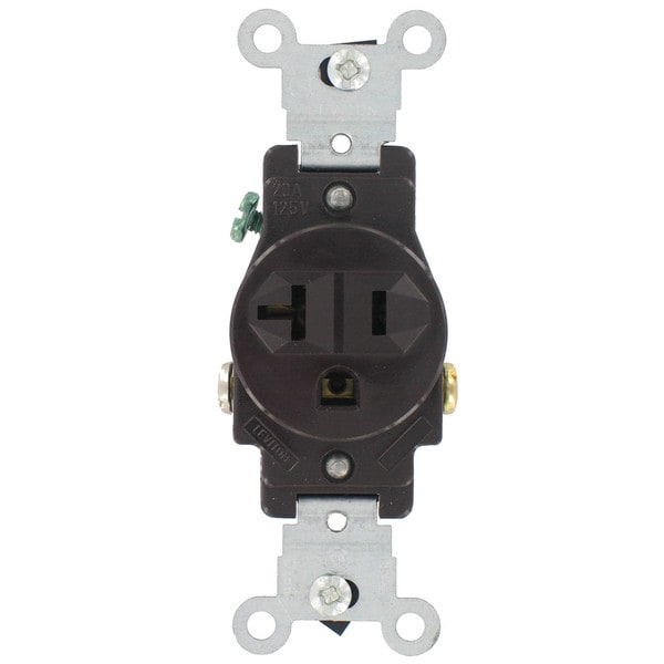 Leviton S01-5801-KWS White Commercial Grade Straight Blade Single Receptacle