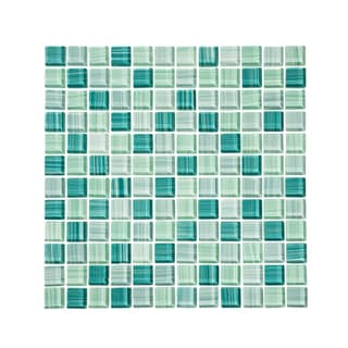 Vicci Design Blue and Green Glass Mosaic Subway Tile