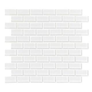 Vicci Design White/Cream Glass 11-square foot 1x2 Subway Tiles