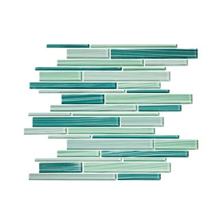 Vicci Design Blue/White/Green/Cream Glass 11-square-foot Linear Random Mosaic