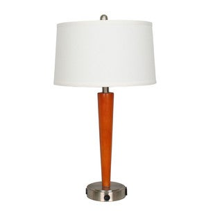 27.5-inch Brushed Steel Metal & Cherry Wood Tech Table Lamp (Includes: 1 USB Port & 1 Convenience Outlet)