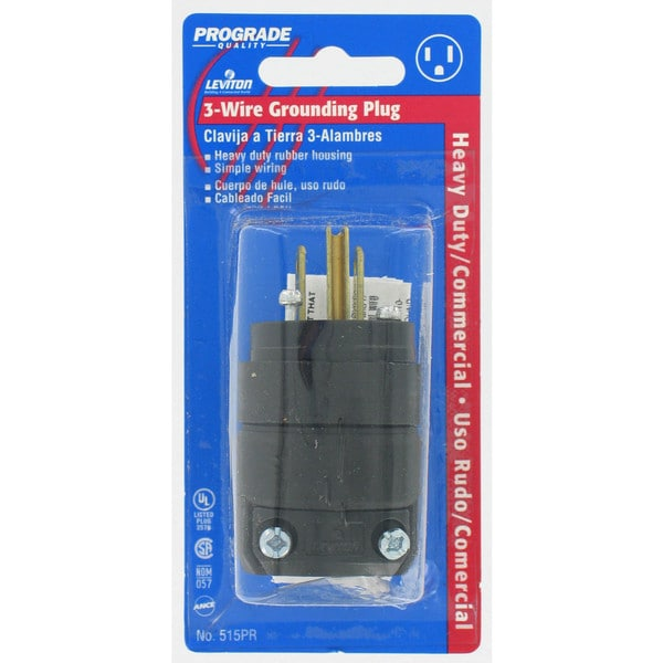 Leviton C20-515PR-000 Commercial Grade Straight Blade Rubber Plug