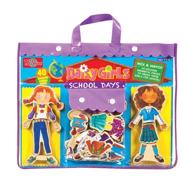 Daisy Girls School Days Wooden Magnetic Dress-Up Dolls