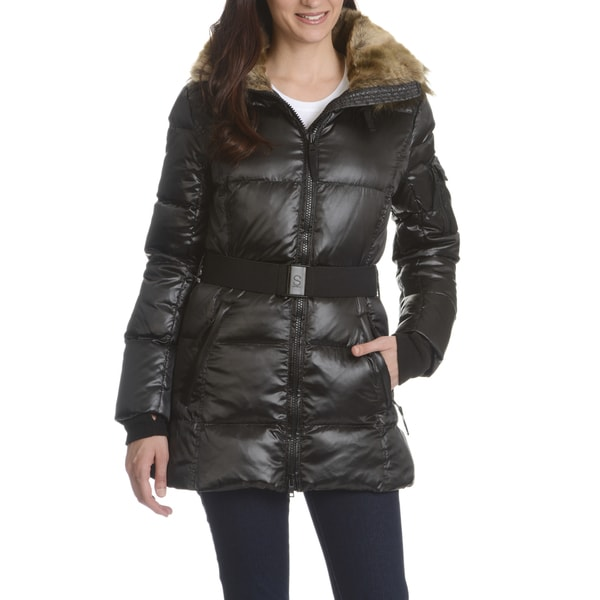 S13/NYC Women's Quilted Faux Fur Trim Hood Belted Down Coat