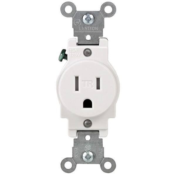 Leviton 131-T5015-00W 15 Amp White Narrow Body Single Receptacle