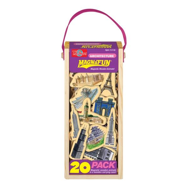 Architecture Wooden Magnets 20 Piece MagnaFun Set