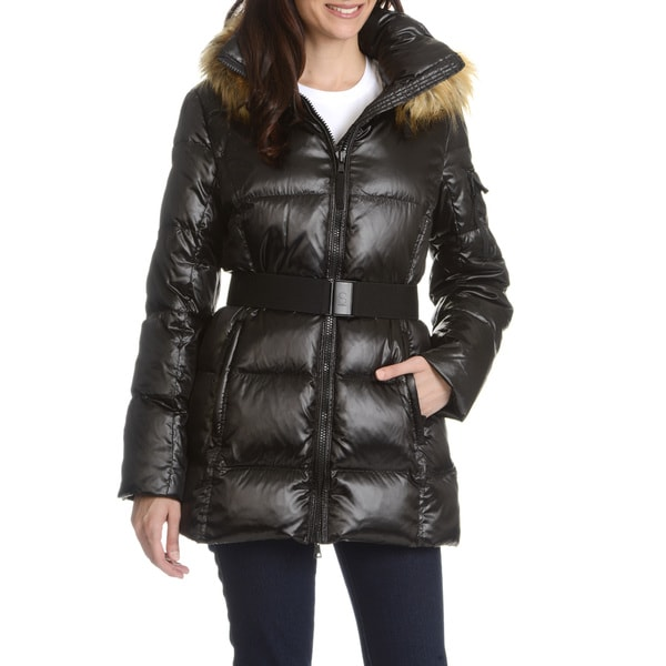 S13 Women's Black Faux Fur Trim Hood Quilted Down Coat