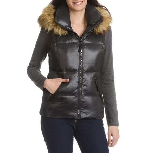 S13 Women's Black Down, Nylon Quilted Faux Fur Trim Hood Vest