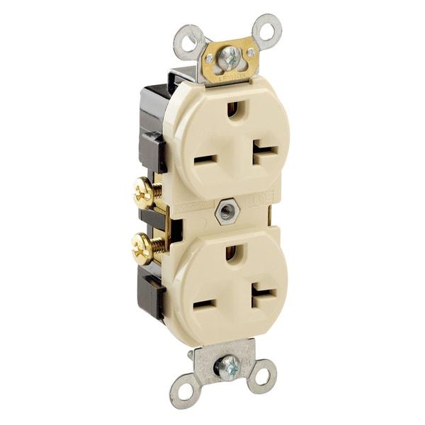 Leviton 051-05822-00I 250 Volt Ivory Duplex Receptacle