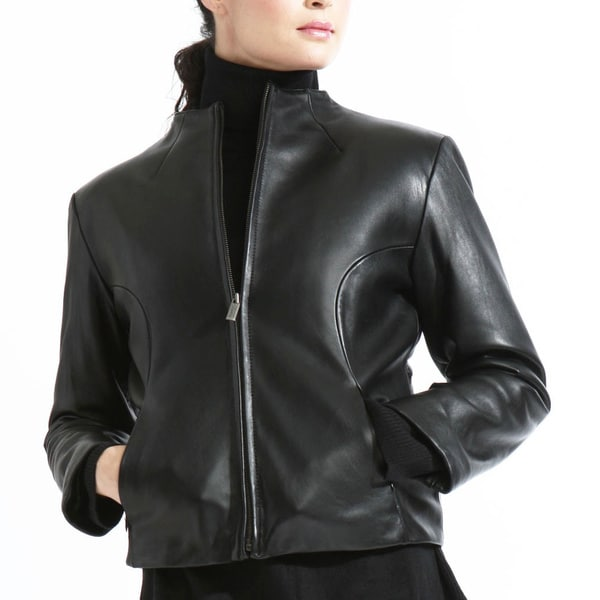 Women's Black Collarless Lambskin Leather Scuba Jacket