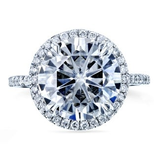 Annello 14k White Gold 4 3/4ct Round Forever Brilliant Moissanite and 2/5ct TDW Diamond Halo Ring (G-H, I1-I2)