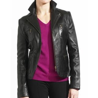 Women's Black Lambskin, Leather Zip Front Blazer Jacket