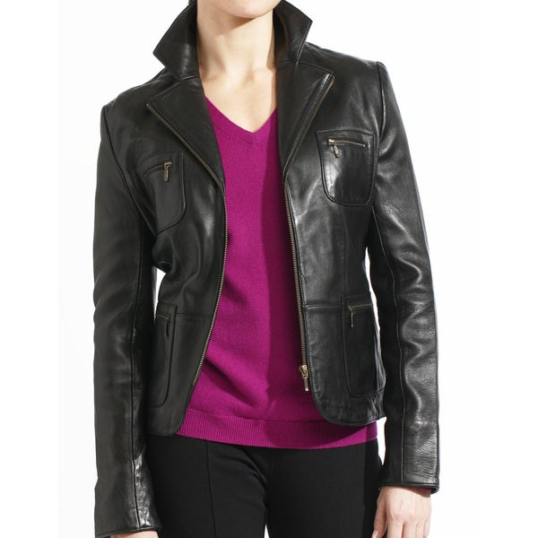 Women's Black Lambskin, Leather Zip Front Blazer Jacket