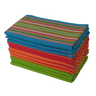 Celebration 12-piece Striped Multicolored Kitchen Towel Set