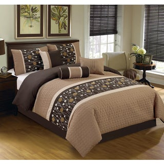 Chinensis Brown Embrodiery 7-piece Comforter Set