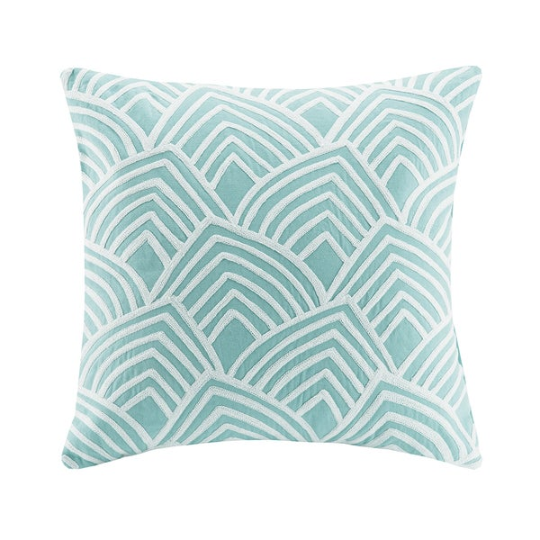 Madison Park Embroidered Scallop Aqua Square Throw Pillow