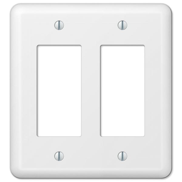 Amertac 935RRW 2 Rocker Colours White Steel Wallplate 19046005