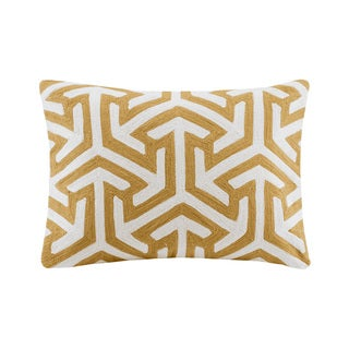 Madison Park Crewel Embroidered Geo Yellow Cotton Oblong Throw Pillow