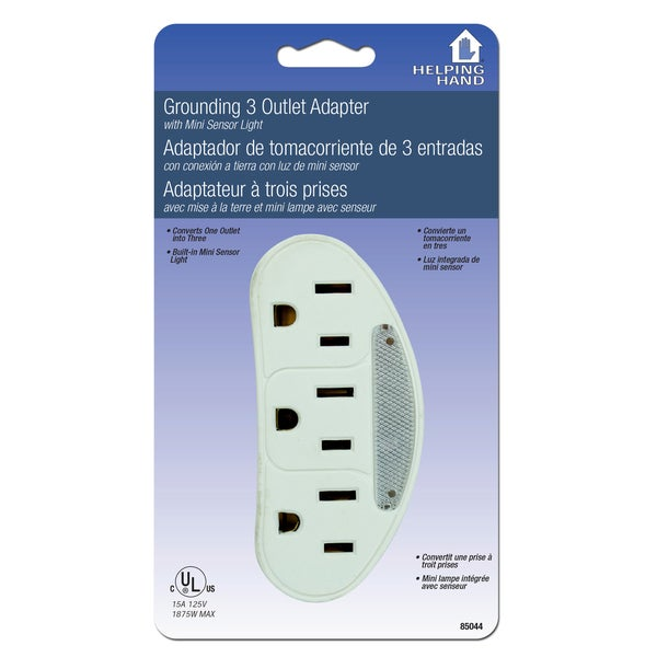 Helping Hand 85044 White 3 Outlet Adaptor