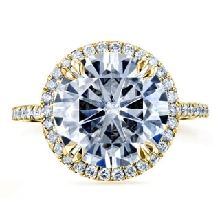 Annello 14k Yellow Gold 4 3/4ct Round Forever Brilliant Moissanite and 2/5ct TDW Diamond Halo Ring (G-H, I1-I2)