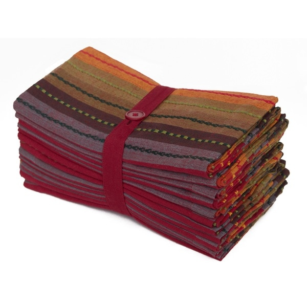 Celebration Salsa Stripes 12-piece Dinner Napkin Set