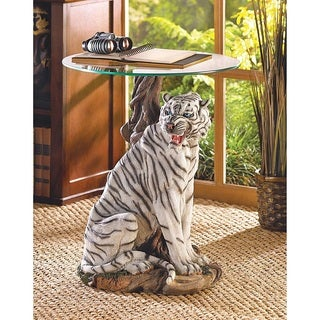 Two-Tone Tiger Glass End Table