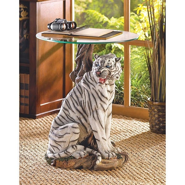 Two-Tone Tiger Glass End Table 19046333