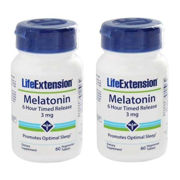 Life Extension Melatonin 6-Hour Timed Release 3mg (60 Vegetarian Tablets)