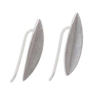 Handcrafted Sterling Silver 'Bamboo Leaves' Earrings (Indonesia)