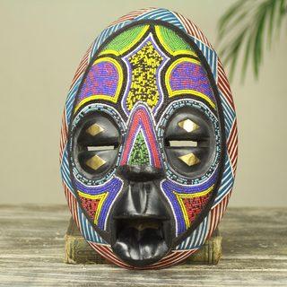 Handcrafted Sese Wood 'Colors of Ghana' Mask (Ghana)