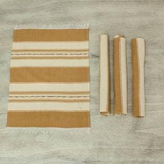 Set of 4 Handcrafted Cotton 'Oaxaca Earth' Zapotec Placements (Mexico)