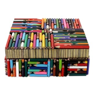 Handcrafted Recycled Pencil 'Life in Color' Box (India)