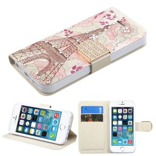 Insten Pink Eiffel Tower Leather Case Cover with Stand/ Wallet Flap Pouch/ Diamond For Apple iPhone 5/ 5C/ 5S/ SE
