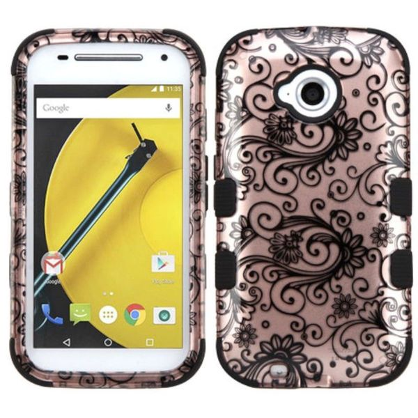 Insten Rose Gold/ Black Four-leaf Clover Tuff Hard PC/ Silicone Dual Layer Hybrid Case Cover For Motorola Moto E( 2nd Gen)