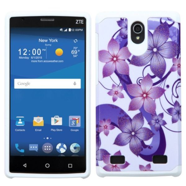 Insten Purple/ White Hibiscus Flower Romance Hard PC/ Silicone Dual Layer Hybrid Rubberized Matte Case Cover For ZTE ZMAX 2