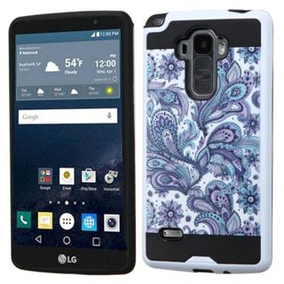 Insten Purple/ White European Flowers Hard PC/ Silicone Dual Layer Hybrid Rubberized Matte Case Cover For LG G Stylo