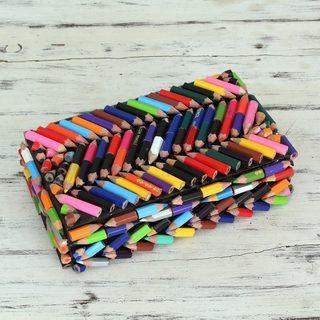 Upcycled Coloring Pencils 'Zigzag Rainbows' Box (India)