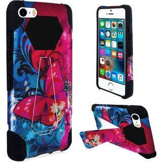 Insten Blue/ Pink Butterfly Bliss Hard PC/ Silicone Dual Layer Hybrid Case Cover with Stand For Apple iPhone 5/ 5S/ SE