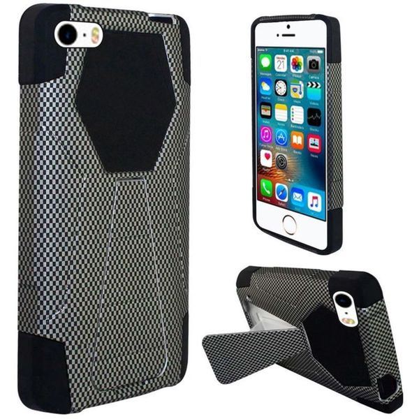 Insten Black Carbon Fiber Hard PC/ Silicone Dual Layer Hybrid Case Cover with Stand For Apple iPhone 5/ 5S/ SE