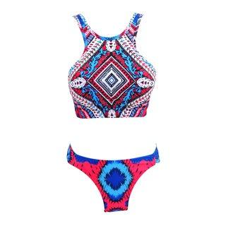 Zodaca Women Ethnic Tankini Two-Piece Swimwear High Neck Bikini Swimsuit
