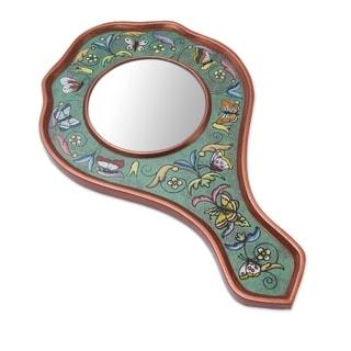 Handcrafted Reverse Painted Glass 'Aqua Butterflies' Mirror (Peru)