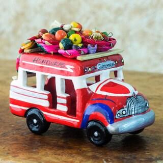 Handcrafted Ceramic 'Bus to Honduras' Sculpture (Guatemala)