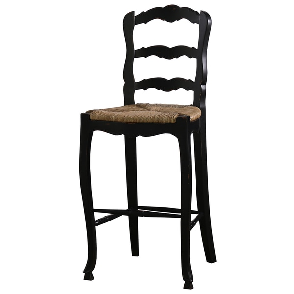 Bramble Co Provincial Black Distressed Mahogany Barstool