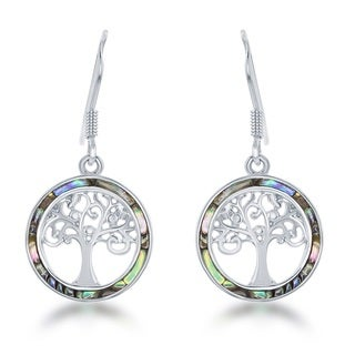 La Preciosa Sterling Silver Abalone Tree of Life Circle Earrings