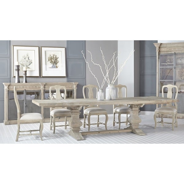 gray manor lewis xv distressed tan oak linen dining chairs