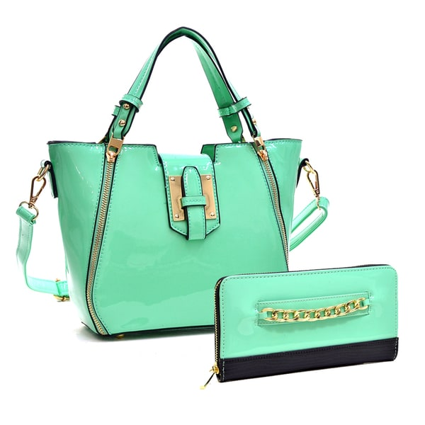 Dasein Mini Patent Faux Leather Satchel Handbag with Zipper Front Detail & Gold-Tone Chain Faux Leather Zip Around Wallet