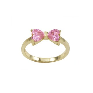 Gold Finish Sterling Silver Light Pink Cubic Zirconia Heart Bow Children's Ring