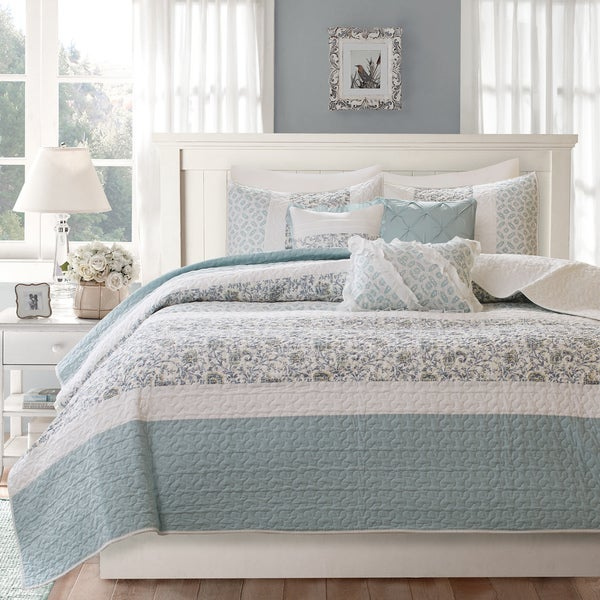 Madison Park Vanessa Blue Cotton Quilted 6 Piece Coverlet