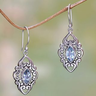 Sterling Silver 'Royal Seal' Blue Topaz Earrings (Indonesia)